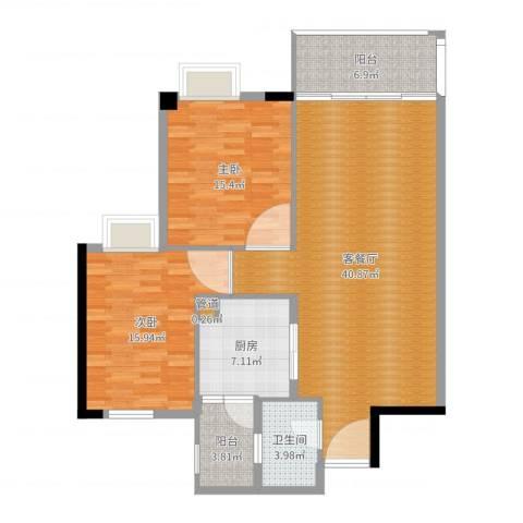 富力院士庭2室2厅1卫1厨118.00㎡户型图