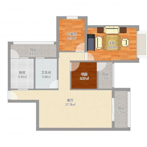 珠海中山雅居乐诺丁山3室1厅1卫1厨92.00㎡户型图