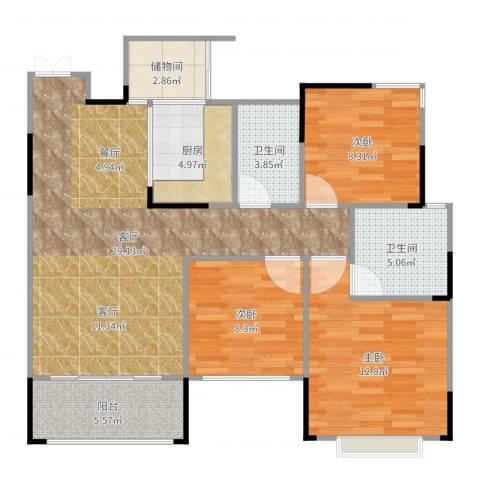 东邦城市花园3室1厅2卫1厨101.00㎡户型图