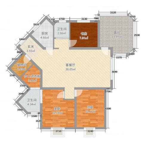 大湖城邦花苑3室2厅2卫1厨128.00㎡户型图