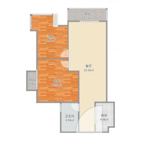 翡翠庄园2室1厅1卫1厨96.00㎡户型图