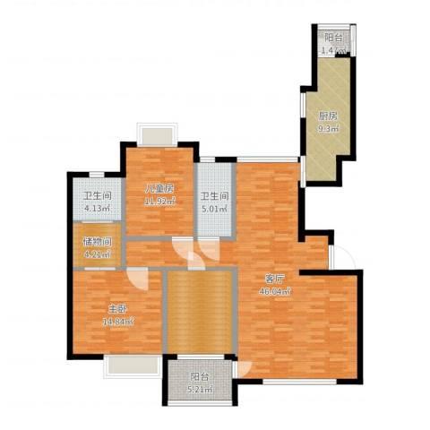 金广东海岸二期2室1厅2卫1厨141.00㎡户型图
