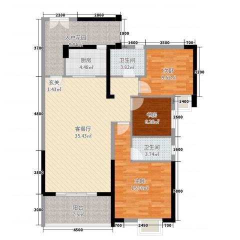 东泰花园3室2厅2卫1厨119.00㎡户型图