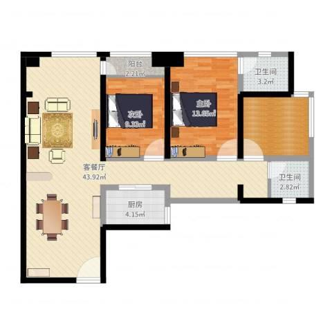 莲丰雅苑二期2室2厅2卫1厨109.00㎡户型图