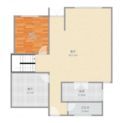 久隆凤凰城1室2厅1卫1厨103.00㎡户型图
