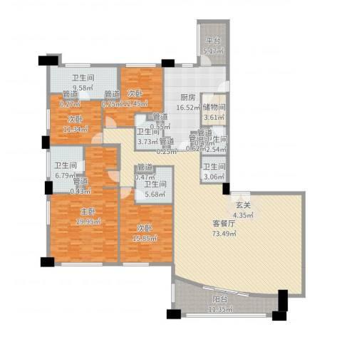富国高银4室2厅6卫1厨268.00㎡户型图