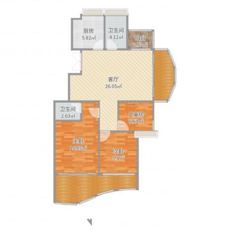 广汇景园3室1厅2卫1厨108.00㎡户型图