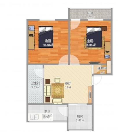 洪苑小区2室1厅1卫2厨62.00㎡户型图