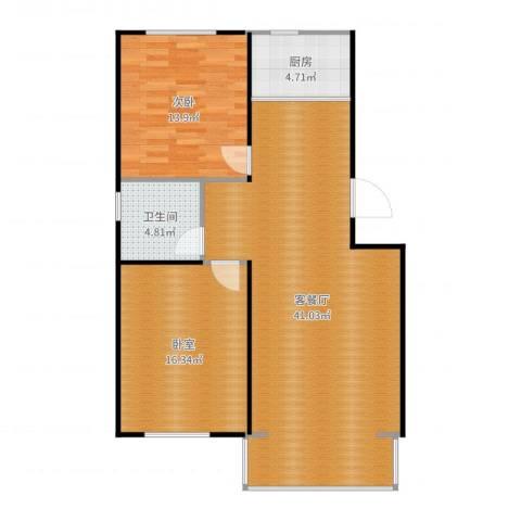 塞纳名邸1室2厅1卫1厨101.00㎡户型图