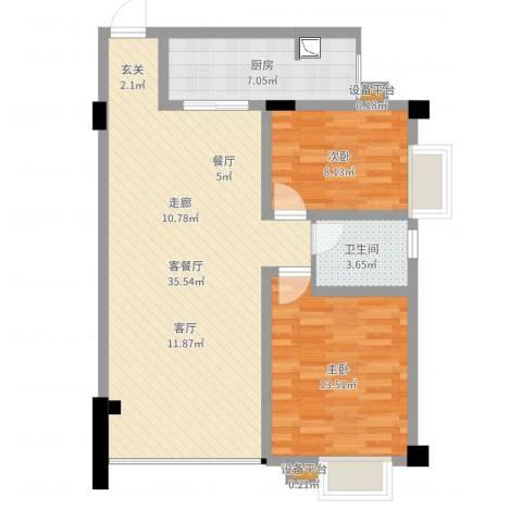 鸿阁一号2室2厅1卫1厨85.00㎡户型图