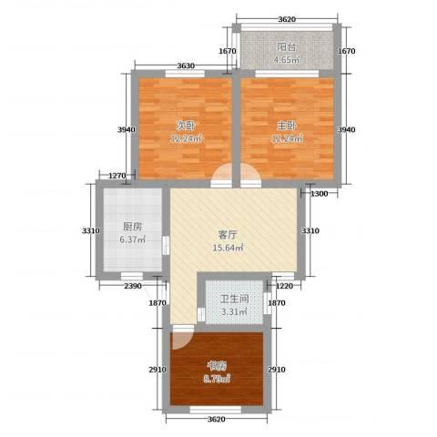 梅川馨苑3室1厅1卫1厨79.00㎡户型图