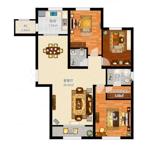金地紫云庭3室2厅2卫1厨124.00㎡户型图