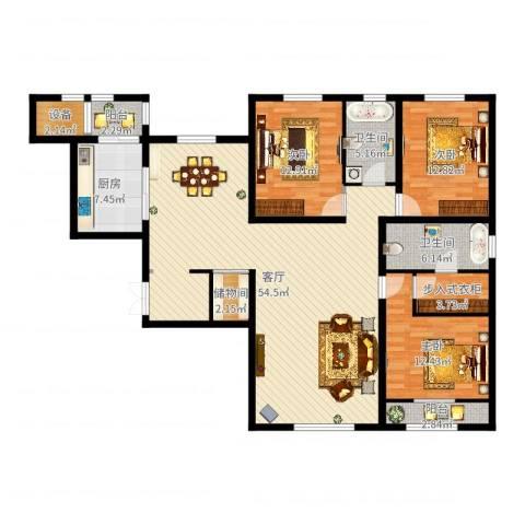 金地紫云庭3室1厅2卫1厨156.00㎡户型图