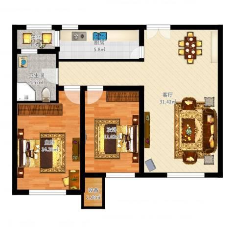 金地紫云庭2室1厅1卫1厨88.00㎡户型图