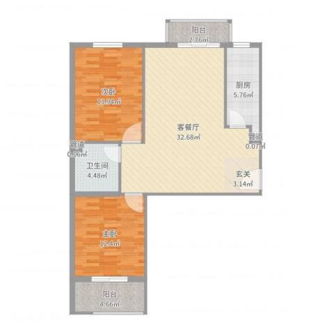大业时代广场2室2厅1卫1厨96.00㎡户型图
