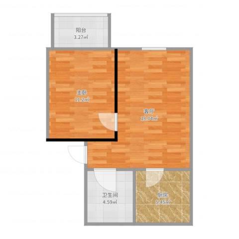 思凡南苑1室1厅1卫1厨53.00㎡户型图