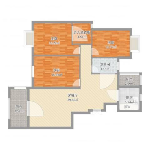 华美小区3室2厅1卫1厨107.71㎡户型图