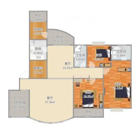 国贸春天3室2厅2卫1厨204.00㎡户型图