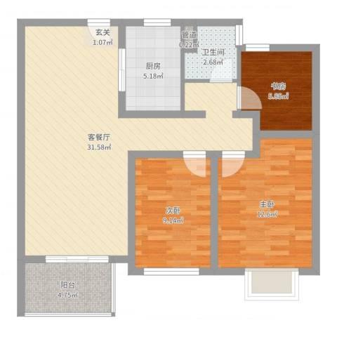 苏宁雅居3室2厅1卫1厨90.00㎡户型图
