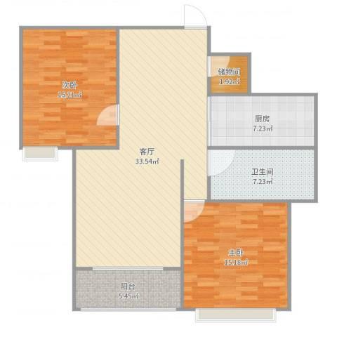 友创健康城2室1厅1卫1厨107.00㎡户型图