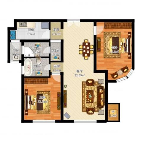 金地紫云庭2室1厅3卫1厨99.00㎡户型图