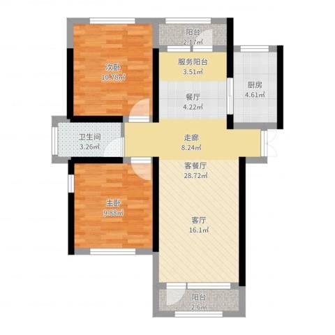 地恒托斯卡纳2室2厅1卫1厨78.00㎡户型图
