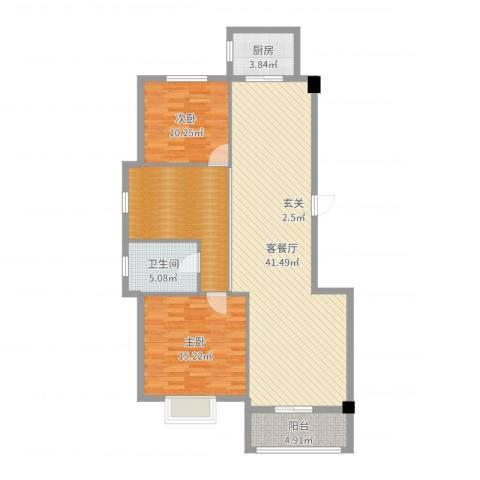 南郡天下・御园2室2厅1卫1厨117.00㎡户型图