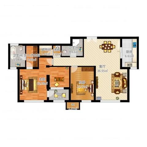 金地紫云庭2室1厅2卫1厨125.00㎡户型图