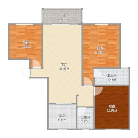鸿运苑3室1厅2卫1厨100.00㎡户型图