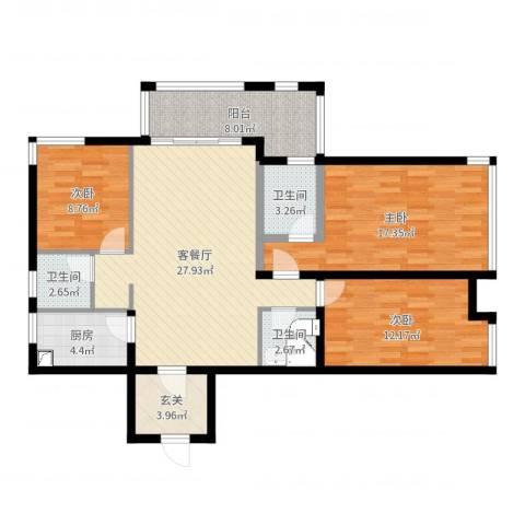 金域华府3室2厅3卫1厨91.17㎡户型图