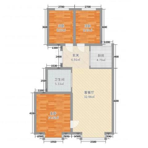 海棠铭居二期3室2厅1卫1厨101.00㎡户型图