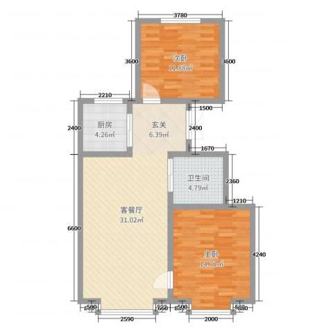 海棠铭居二期2室2厅1卫1厨92.00㎡户型图