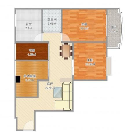 倚绿山庄3室1厅1卫1厨92.00㎡户型图