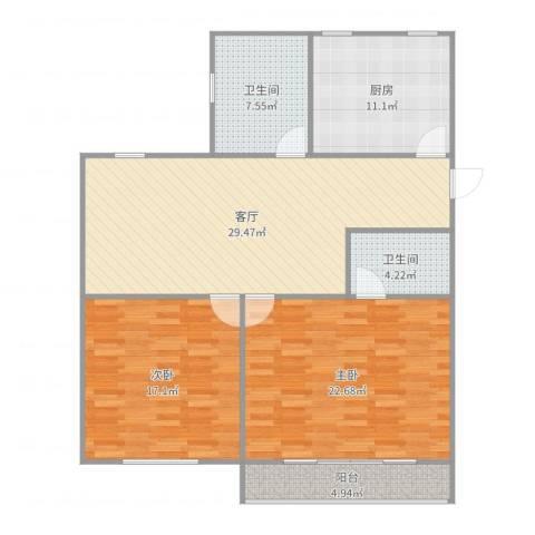 育秀九区2室1厅2卫1厨121.00㎡户型图