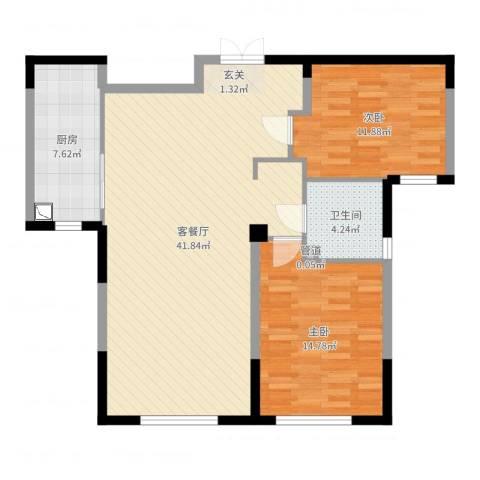 万顺空港融和广场雅仕阁公寓2室2厅1卫1厨101.00㎡户型图