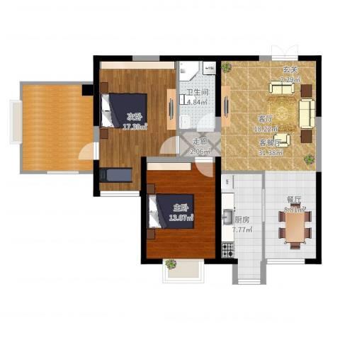 亚凯园2室2厅1卫1厨108.00㎡户型图