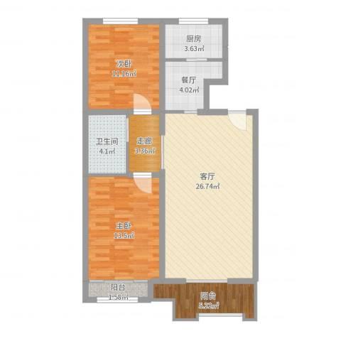 景江雅苑2室2厅1卫1厨92.00㎡户型图