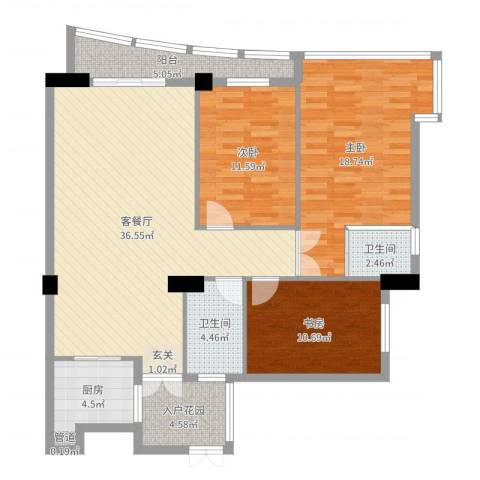 华腾碧水映象3室2厅2卫1厨124.00㎡户型图