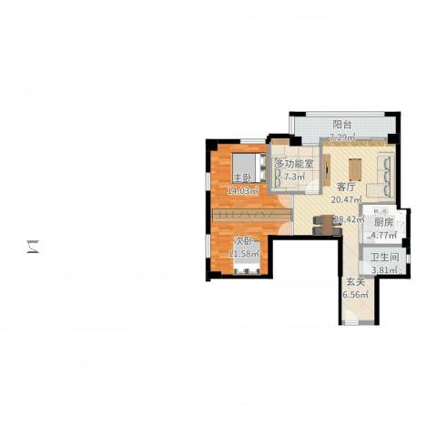 晓港湾2室1厅1卫1厨96.00㎡户型图