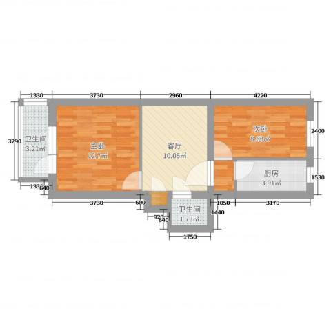 永泰庄甲6号院2室1厅2卫1厨52.00㎡户型图