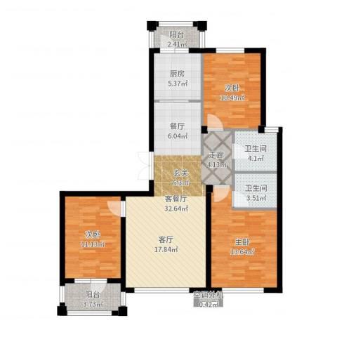 天源秀景3室2厅2卫1厨109.00㎡户型图
