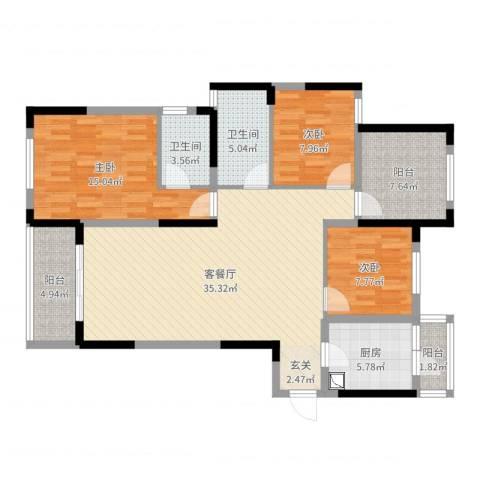 龙湖湘风原著3室2厅2卫1厨119.00㎡户型图