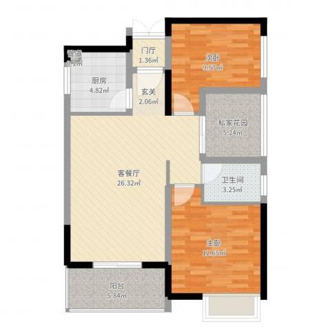 金桂华府2室2厅1卫1厨86.00㎡户型图