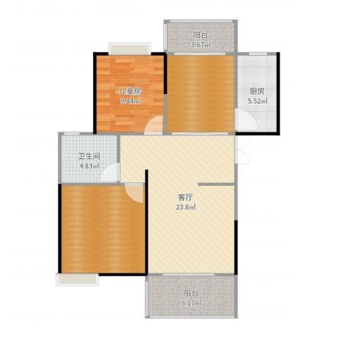 世纪城龙兴苑1室1厅1卫1厨95.00㎡户型图