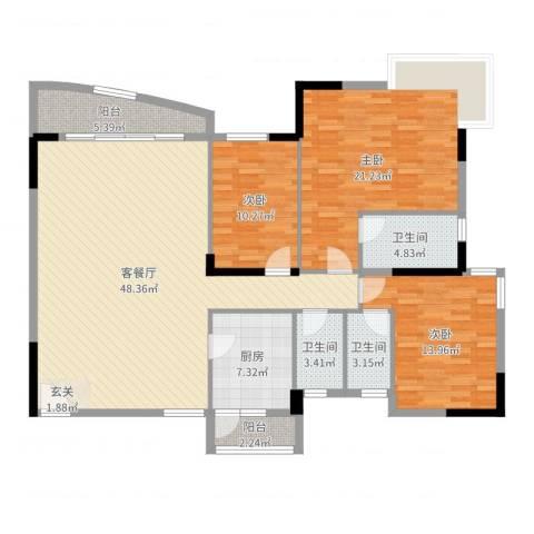 嘉信城市花园三期3室2厅3卫1厨150.00㎡户型图