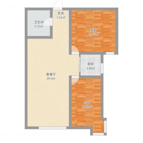 海旺家园二期2室2厅1卫1厨99.00㎡户型图