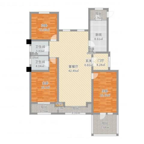 中铁诺德龙湾3室2厅2卫1厨155.00㎡户型图