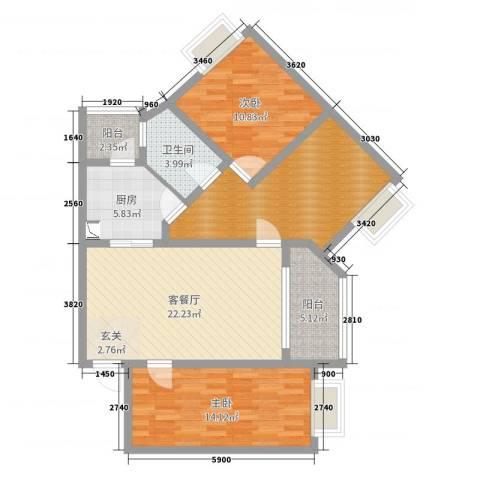 白云区春兰花园2室2厅1卫1厨100.00㎡户型图