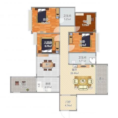 中港世纪嘉城4室2厅2卫1厨144.00㎡户型图