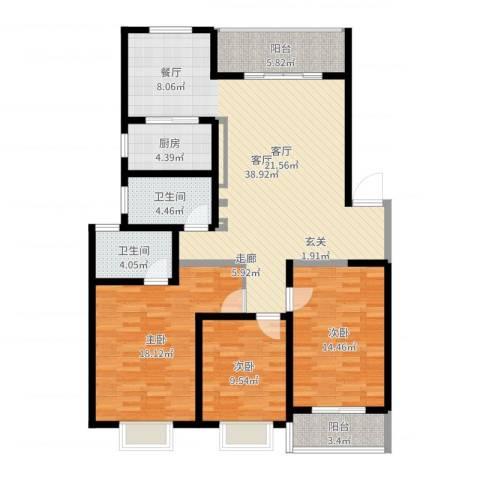 银河花园3室1厅2卫1厨129.00㎡户型图